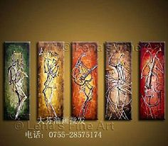 Arts World HandPainted Wall Art Abstract Play Musical Instruments Line Oil Painting On Canvas 5 Pcs Set Wood Framed F 785 >>> Check out this great product.