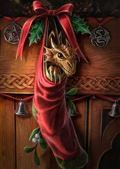 A dragon is for life, not just for Hogswatch! Original painting by Anne Stokes. What poor Vimes wakes up to on Hogswatch morning