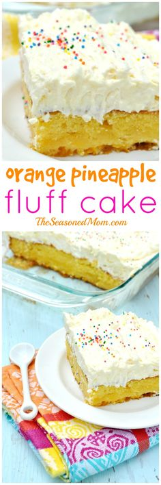 A moist, brightly-flavored orange cake is topped with a light and fluffy pineapple frosting in this cool and refreshing Orange Pineapple Fluff Cake (and it starts with a cake mix}!!