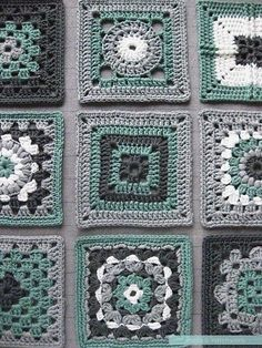 Crochet meets Patchwork - green squares loose Tutorial triple puff tute, thanks so xox