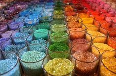rainbow colors of Beads for sale in a shop What's My Favorite Color, My Favorite Things, Bead Studio, Bead Shop, World Of Color, Beading Supplies, Over The Rainbow, Handmade Art, Rainbow Colors