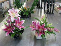 pink lily centerpieces | Kuga Designs: Pink Stargazer Ikebana Wedding