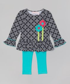 Look at this #zulilyfind! Black Flower Tunic & Turquoise Leggings - Infant & Toddler by Kids Headquarters #zulilyfinds