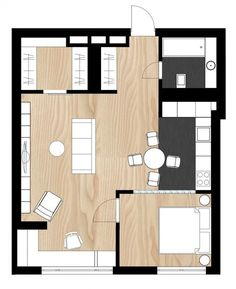 28 New Ideas House Plans With Loft Layout Guest House Plans, House Plan With Loft, Loft Plan, Bedroom House Plans, New House Plans, House Floor Plans, Studio Type Apartment, Apartment Layout, Apartment Design