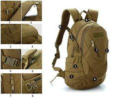 LEMONBEST® 20L WARGAME Outdoor Backpack Traveling Exploration Backpack Daypack Brown