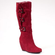 red buckled wedge boots <3   omg these are a must love me a wedge boot!!!