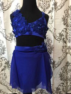 sapphire blue lyrical girls dance costume