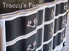 Vintage Painted French Provincial Dresser Buffet Black Cream Gold.