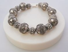 Sterling Silver Bali Granulation beads Bracelet by KartiniStudio