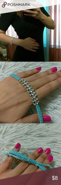 """*25% off 3* Sky Blue Rhinestone Adjust Bracelet New with Tags- sky blue braided adjustable length band- gold tone & sparkle diamond accent stones- measures: 6"""" (all around smallest size)-9"""" (all around maximum stretch) boutique Jewelry Bracelets"""
