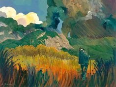 Oil Painting by Ed Sandoval of Old Man in Field, Grass, Wind