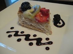 Puff Pastry Fruit Strip with Pastry Cream, Strawberries, Kiwi,  Blackberries, and a Blackberry Coulis