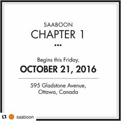 Omg! So excited for the @saaboon opening this weekend.  #Repost @saaboon with @repostapp  It is time! I am extremely happy to announce the new SAABOON shop will be opening this Friday October 21 2016. The shop is located at 595 Gladstone Avenue #Ottawa (with lots of free parking on Gladstone and Percy). As part of this soft opening this weekend I'd like to offer 50 lip balms to the first 50 visitors to the shop (with the purchase of any SAABOON product). As well as an extra bonus when you…