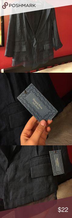 Vera wang blazer Vera wang dark blue blazer. Size XS, 74% rayon 15% polyester 11% nylon. Mesh detail at the bottom, one button closure and 2 faux pockets on each side Vera Wang Jackets & Coats Blazers