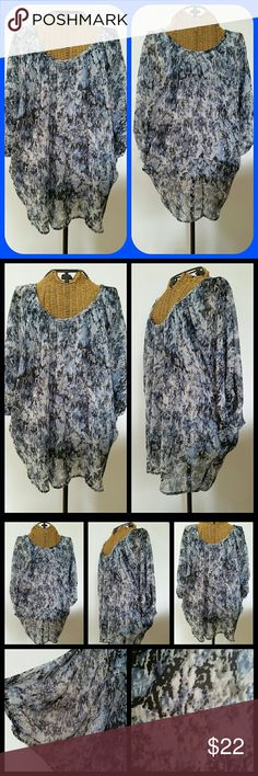 "PLEIONE pheasant boho blouse top M Gorgeous blouse  Sz M Rayon stretchy cami lining ...sheer rayon overlay Pheasant sleeved Scoop neckline  Underarm to underarm. ..cami measurements 17.5"" unstretched  Top of shoulder to hem 28"" Very good condition Pleione Tops Blouses"