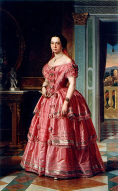 Portrait of a lady in pink and white by Ángel María Cortellini Hernández,1855