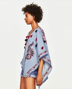 Image 6 of EMBROIDERED PONCHO TOP from Zara