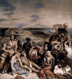 Eugène Delacroix, Massacre at Chios Louvre. Eugène Delacroix, Scene of… William Turner, Delacroix Paintings, Eugène Delacroix, Romanticism Artists, Art Français, Famous Art, Oil Painting Reproductions, Magritte, French Art