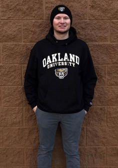 a53aa3ba57da Champion Oakland University Golden Grizzlies Mens Black Arch Mascot Long  Sleeve Hoodie