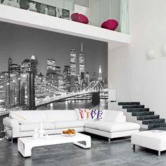 Brooklyn Bridge in New York Small Space Living, Small Spaces, Bridge Wallpaper, Brooklyn Bridge, Home Bedroom, Bedroom Boys, Beautiful Bedrooms, Home Decor Inspiration, Rum