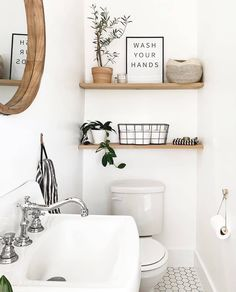 White Bathroom Tiles, Downstairs Bathroom, Small Bathroom, Bathroom Ideas, Bathroom Organization, Vanity Bathroom, Bathroom Plants, Boho Bathroom, Industrial Bathroom