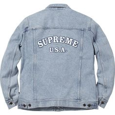 Supreme Denim Trucker Jacket ❤ liked on Polyvore featuring trucker jacket