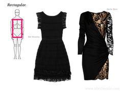 """Cuerpo """"rectangular"""".    En este cuerpo, las zonas de los hombros, pecho, y caderas, tienen más o menos el mismo tamaño sin una cintura definida; por esto, el vestido que se elija, debe de crear la """"ilusión""""  de una cintura definida…  """"Ensanchar"""" -visualmente- la zona de los hombros y las caderas, para que la cintura luzca más pequeña;  -como en el ejemplo de Emilio Pucci-."""