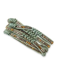 Beaded Leather Wrap Bracelet, Mint by Nakamol at Neiman Marcus.