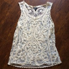 Off white Lace Top Off white sheet lace embroidery. ❌no trades ❌no PayPal ❌no holds ✅bundle discounts ✅reasonable offers Express Tops