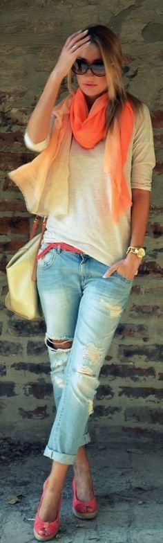love scarves and torn jeans. Can't go wrong here.