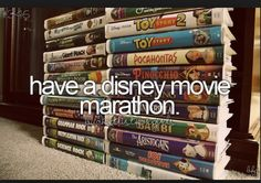 Bucket list lol but doing it right now herbie the game plan Hannah Montana the movie Jonas brothers tangled ice princess LILO and stick lady and the tramp and ratatouille