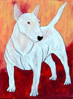 Bull terrier, acrylics on canvas. Bully Dog, Fox Terrier, Acrylics, Mars, Dinosaur Stuffed Animal, Canvas, Animals, Kunst, Shop Signs