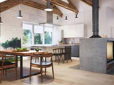 Die Küche zeichnet sich durch elegante weiße Schränke und Stein Arbeitsplatten, im Gegensatz zu den reichen Hartholzbodenbelag rund um einen kühlen Farbton. Auf der linken Seite wird der Esstisch im Reich Holz mit einem schwarzen Metallrahmen.