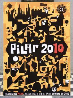 Cartel Fiestas del Pilar 2010 en Zaragoza