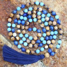 Just looking at this custom mala - a combo of Amazonite, Lapis Lazuli, and Picture Jasper - reminds me that this life doesn't need to be so serious. To be grateful for the little things things and not stress over what we cant control. That this life is one big game and we are all in it together. Is it just me?? What do you see/feel? #mymalarae