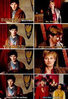 Arthur giving Merlin official ceremonial robes of servants xD