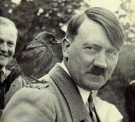 Hitler with a bird on his shoulder