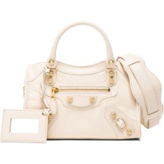 Balenciaga Giant 12 Mini City (11.915 NOK) ❤ liked on Polyvore featuring bags, handbags, pink purse, real leather handbags, leather handbags, studded handbags and genuine leather handbags