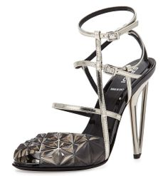 Fendi Metallic Molded Strappy Sandal