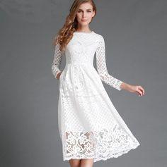 black white lace white dress 2016 spring new arrival long sleeve bohemian midi dresses hollow out vestidos plus size xxl clothes