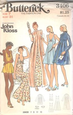 1970s Butterick 3406 John Kloss Nightgown Baby Dolls