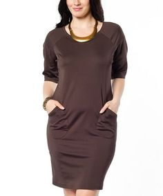 Look what I found on #zulily! Brown Pocket Bodycon Dress - Plus #zulilyfinds
