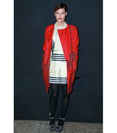 Bright print + B/W stripes + tights + red lip