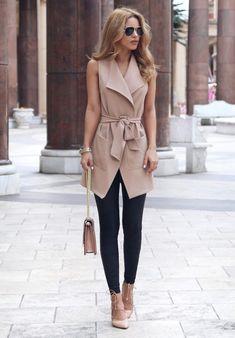 Work Outfits Women - Fashion sleeveless cardigan jacket - My Fashion World Mode Outfits, Office Outfits, Fashion Outfits, Womens Fashion, Fashion Trends, Ladies Fashion, Women Fashion Casual, Casual Office, Woman Outfits
