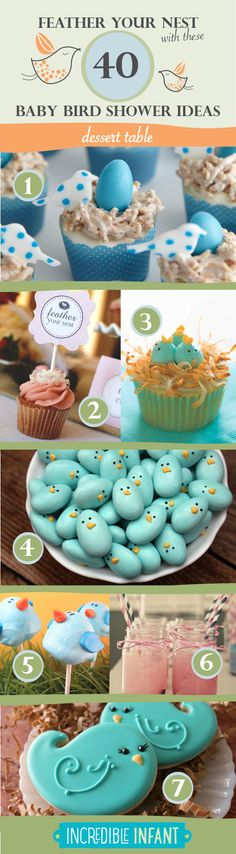 40+Bird+Baby+Shower+Ideas+to+Feather+Your+Nest+-+Dessert+Ideas+-+http://www.incredibleinfant.com
