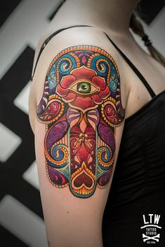 colorful hamsa tattoo
