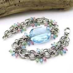 Crystal Bracelet, Sterling Silver Chain, Aquamarine Swarovski Crystal