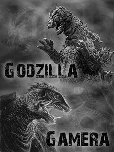 Godzilla and Gamera by ~Gojigirl