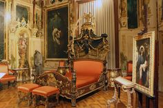 """Hermesvilla, Austria, bed in Sissi's Bedroom. The bed is from the time of Maria Theresa, the murals depict motifs from Shakespeare's """"A Midsummer Night's Dream"""" , designs by Hans Makart."""