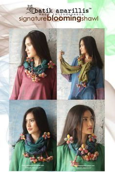 Gorgeous ! Batik Amarillis's Blooming Forever scarf ♥ made of silk cotton with hand made 6 flowers at the end, can be tied and styled in many ways. AVAILABLE at batik amarillis webstore  www.batikamarillis-shop.com